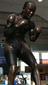 A very impressive and imposing bronze statue of Joe Louis, in the lobby of the COBO Center.